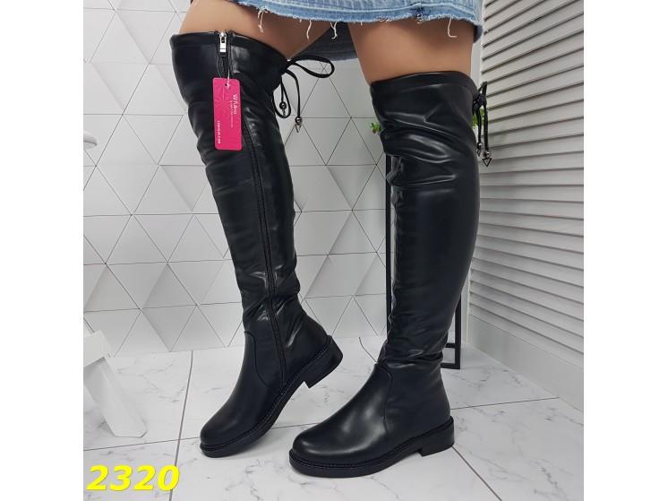 Сапоги чулки ботфорты на низком каблуке зимние 36, 37 р. (2320)