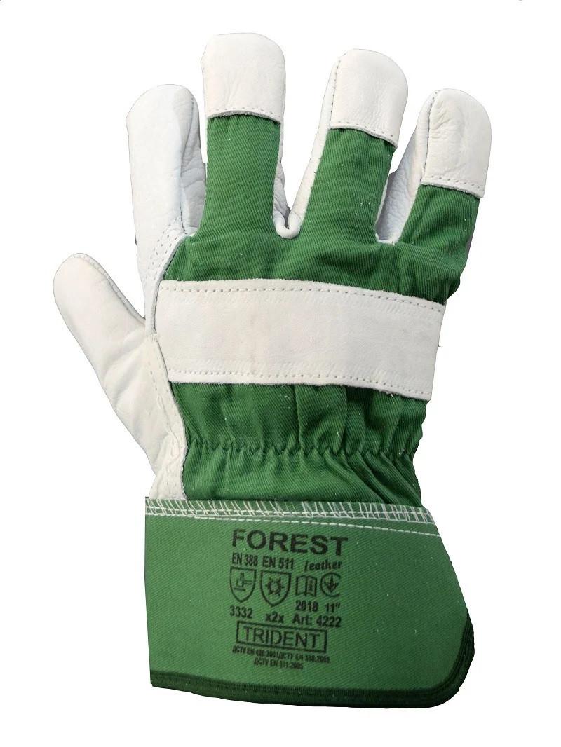Перчатки комбинированные кожаные на флисе зимние Украина Trident