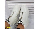 Ботинки спортивные демисезон со змейкой спереди белые 36 р. (2330), фото 5