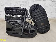 Детские зимние мунбутсы луноходы Moon boots черные с эффектом битого стекла Калифорния 29-35р 29, 31, 35 (