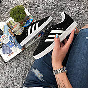 Женские кроссовки в стиле Adidas Gazelle Black Suede
