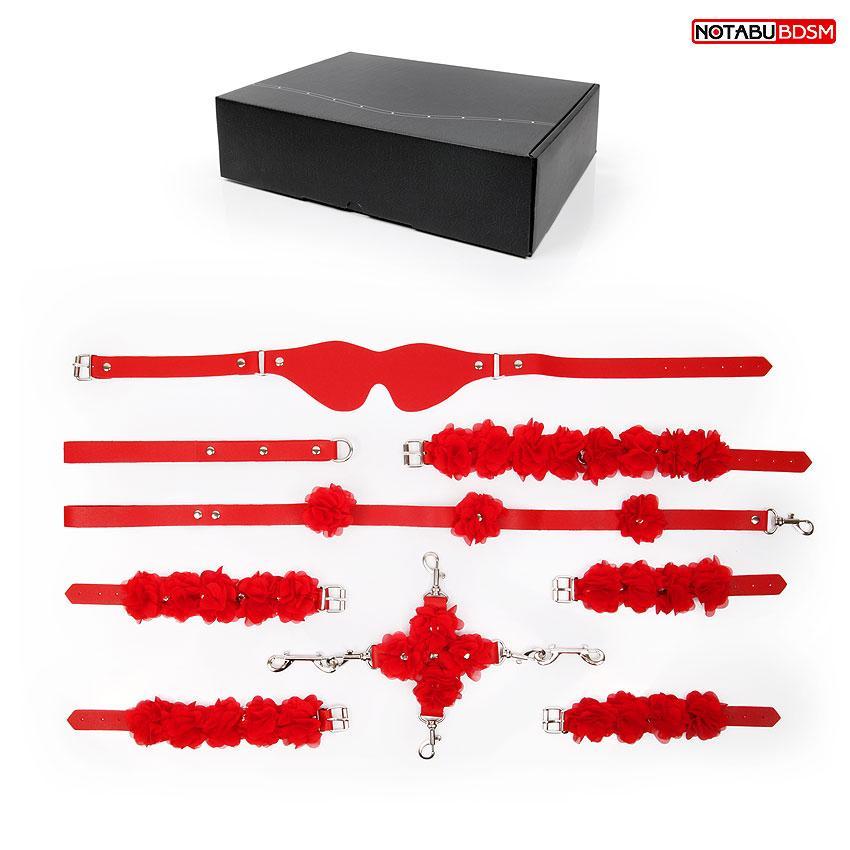 НАБОР (маска, фиксатор, ошейник с поводком, наручники, оковы, шлёпалка) цвет красный