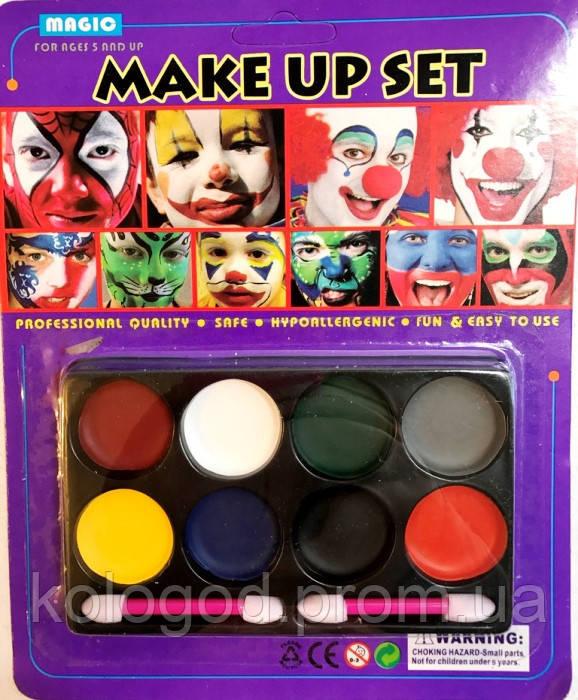 Карнавальна Фарба для Макіяжу Обличчя і Тіла Грим Набір 8 кольорів Для Вечірки Маскарад