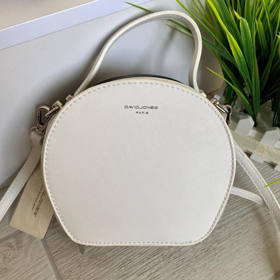 Женская сумка кругляшка David Jones Mini белая с черным ДДМ66