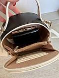 Женская сумка кругляшка David Jones Mini белая с черным ДДМ66, фото 4