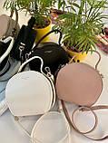 Женская сумка кругляшка David Jones Mini белая с черным ДДМ66, фото 9