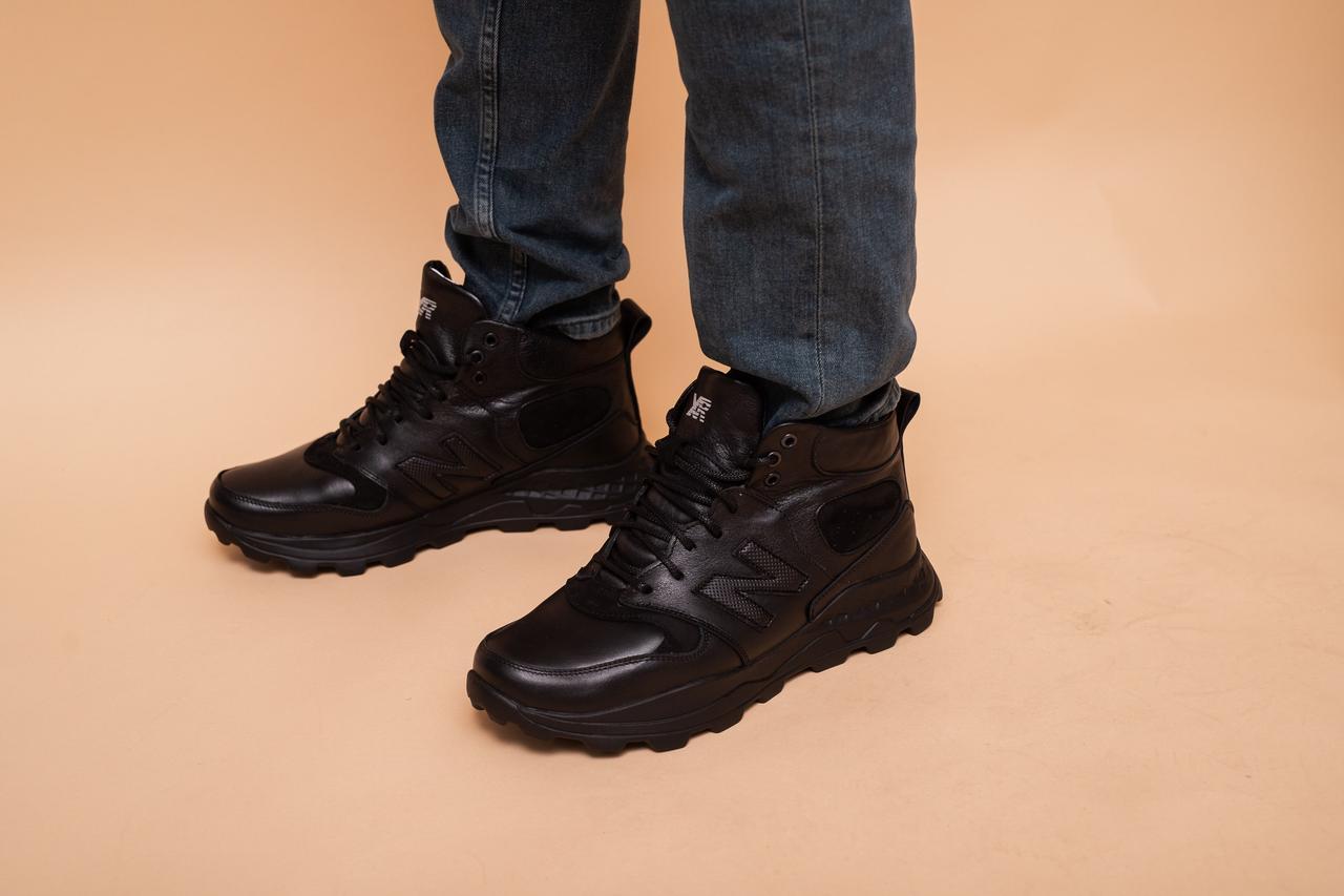 Мужские кроссовки кожаные зимние черные EXtrem 4029/59-01
