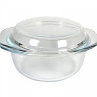 Кастрюля стеклянная круглая жаропрочная с крышкой V 1500 мл (шт) Империя Посуды EMP_1864