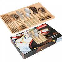 Столовые приборы{Фраже} c золотыми рисунками ( набор 24 пр ) Империя Посуды EMP_8813