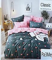 Комплект евро постельного белья бязь с зайцами и сердцами