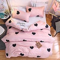 Комплект евро постельного белья бязь с сердцами розовое