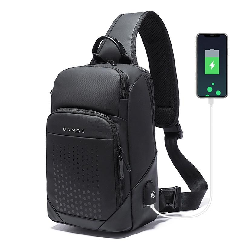 Городской однолямочный рюкзак через плечо Bange BG77111, с USB портом и двумя отделениями, влагозащищённый, 6л