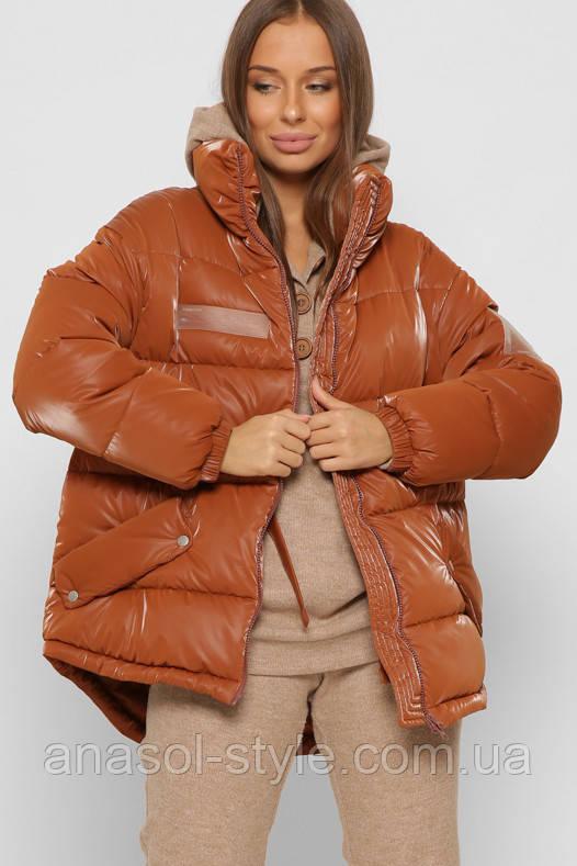 Модная зимняя куртка из глянцевой плащевки оверсайз с кулиской на талии терракот