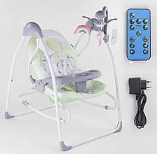 Гойдалки дитячі електронні для новонароджених JOY 3в1 CX-11009, з таймером, пультом і знімним столиком, зелений
