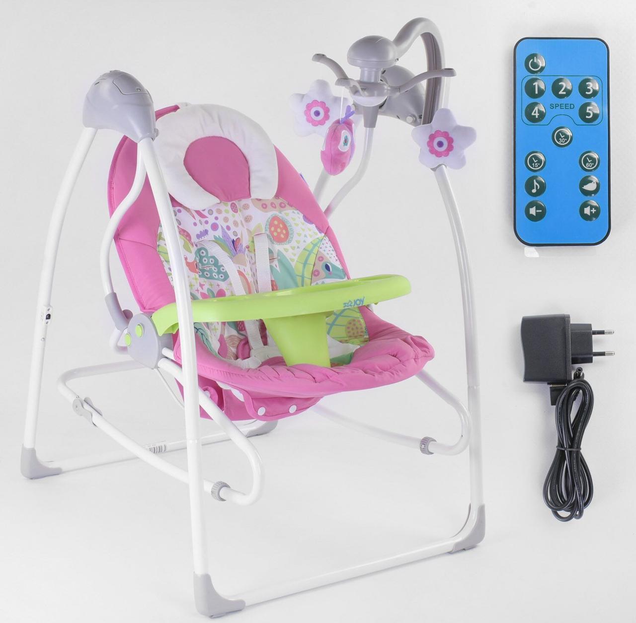 Детские укачивающие качели-шезлонг для новорожденных JOY 3в1 CX-30858, со звуковыми эффектами, розовый