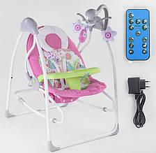 Дитячі вколисуючі гойдалки-шезлонг для новонароджених JOY 3в1 CX-30858, зі звуковими ефектами, рожевий