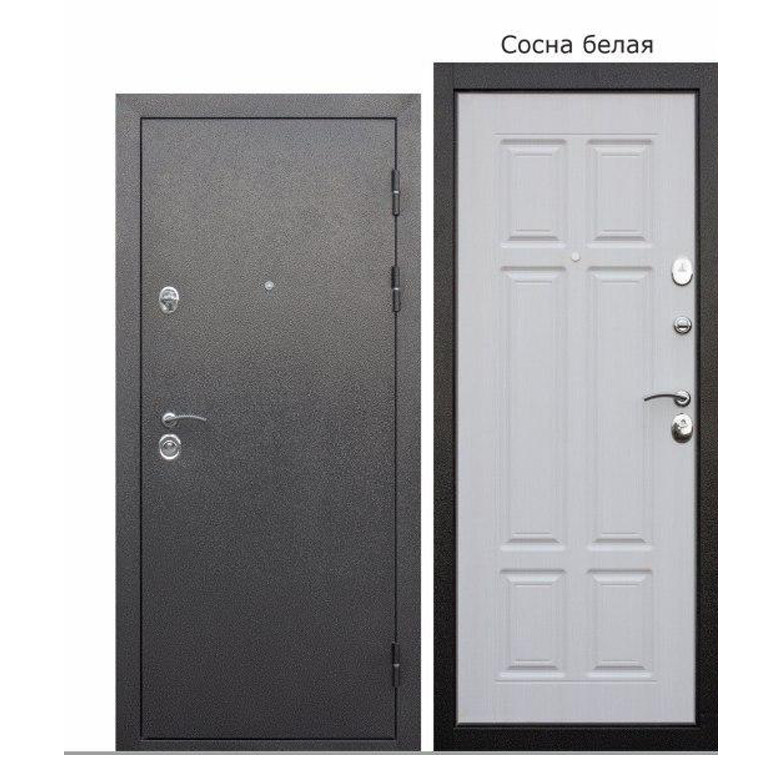 Дверь брон. 860*90 метал/МДФ накл. левая улица Аляска Сосна белая