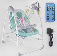 Укачивающий центр для новорожденных (качели-шезлонг) JOY 3в1 CX-55109, электронный, с пультом д/у, бирюзовый