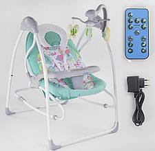 Заколисуючий центр для новонароджених (гойдалки-шезлонг) JOY 3в1 CX-55109, електронний, з пультом д/у, бірюзовий