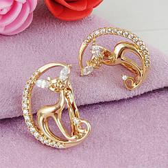 Серьги Xuping Лунная кошка медицинское золото позолота 18К английский замок А/В 1-0202