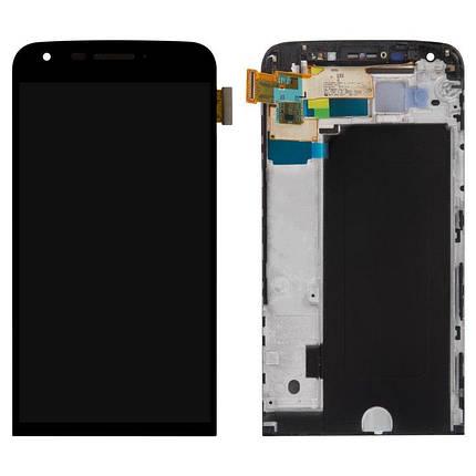Дисплей (экран) для LG H860N G5 с сенсором (тачскрином) и рамкой черный Оригинал, фото 2