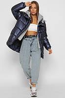 Зимняя куртка оверсайз в спортивном стиле с трикотажным капюшоном синяя