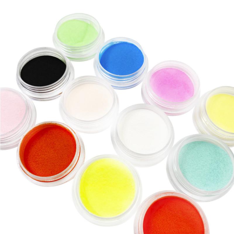 Набор разноцветной акриловой пудры - 12 баночек