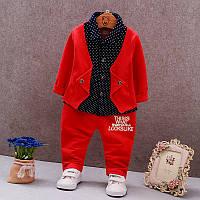 Стильный детский костюм с бабочкой на 1-2-3 года Красный