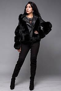 Кожаная куртка косуха с натуральным мехом финского песца