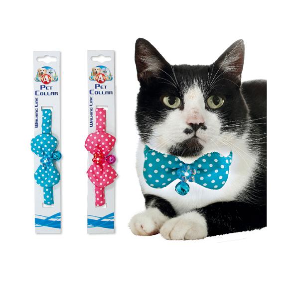 Ошейник для кота Croci BUTTERFLY. Нейлоновый со звоночком 19-29*1 см (синий/розовый)