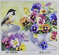 Картина по номерам KTL 1117 Синица и фиалки, 40 х 30 см, в коробке, фото 1