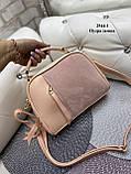 Женская комбинированная сумочка-клатч замш/кожзам, фото 8