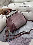 Женская комбинированная сумочка-клатч замш/кожзам, фото 9