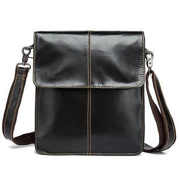 Чоловіча сумка через плече Натуральна шкіра Барсетка Чоловіча шкіряна сумка для документів планшет Коричнева