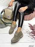 Женские зимние ботинки- лоферы Лоро на шнурках, натуральная кожа и замш много цветов, фото 5