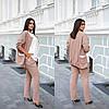 Стильний жіночий зручний брючний костюм трійка батал: піджак + футболка + штани (р. 48-58). Арт-4164/32