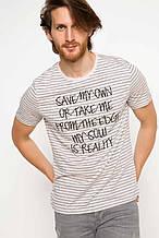 Новая полосатая мужская футболка defacto фирменная