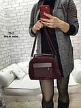 Женская комбинированная сумочка-клатч замш/кожзам, фото 3