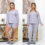 Женская пижама тройка кофта штаны и шорты большие размеры, фото 2