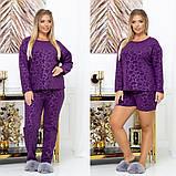 Женская пижама тройка кофта штаны и шорты большие размеры, фото 3