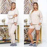 Женская пижама тройка кофта штаны и шорты большие размеры, фото 5