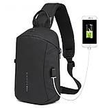 Однолямочный рюкзак Bange BG-1912 USB порт 6л чорний, фото 2