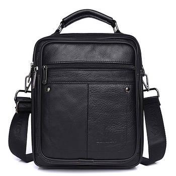 Чоловіча сумка через плече Натуральна шкіра Барсетка Чоловіча шкіряна сумка для документів планшет Чорна