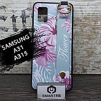 Чехол с рисунком для Samsung A315 / A31 Flower Голубой, фото 1