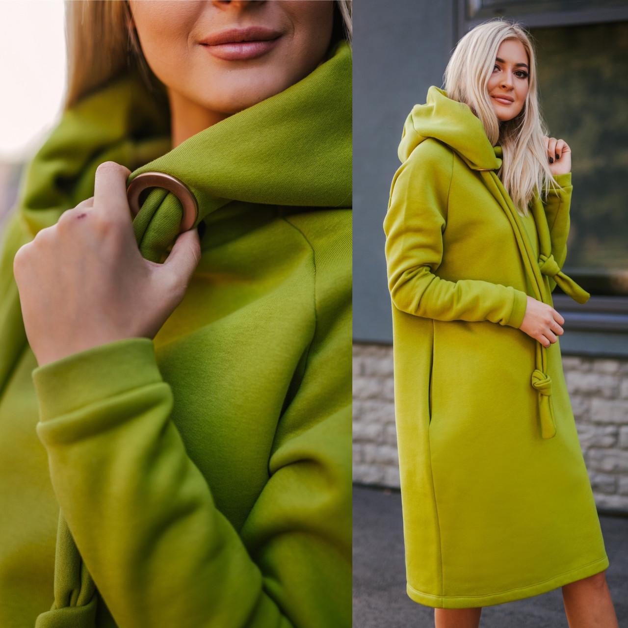 Тепле плаття на флісі в кольорі олива