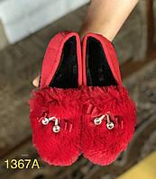 Женские слипоны,мокасины с мехом автоледи красные, фото 1