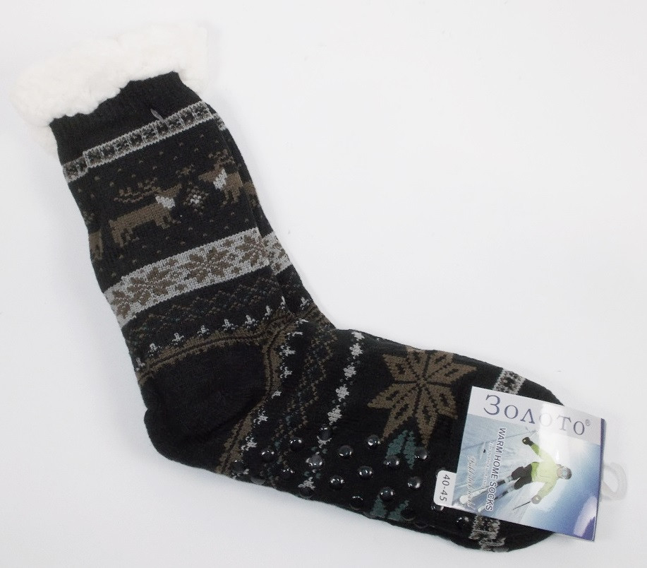 Носки с мехом и силиконом на подошве размер 40-45 3009-12