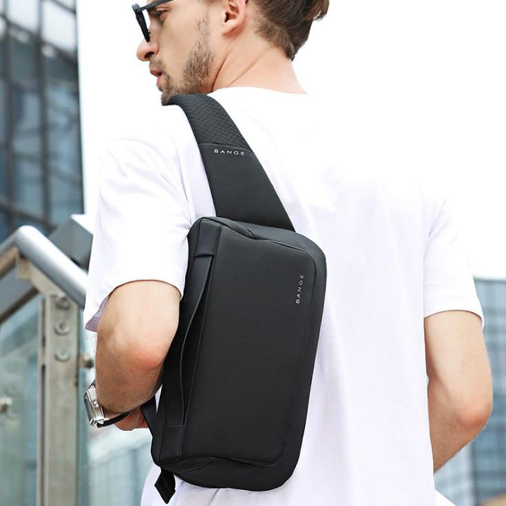Сумка-бананка поясна Bange BG 77111 вологостійка борсетки сумка через плече колір чорний