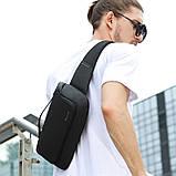 Сумка-бананка поясна Bange BG 77111 вологостійка борсетки сумка через плече колір чорний, фото 3