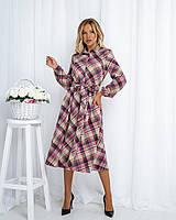 Женское модное платье в клетку, поясок в цвет платья